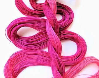 "Size 20 ""Raspberry Sorbet"" hand dyed tatting thread 6 cord cordonnet crochet cotton"