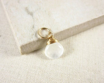 S- Natural Moonstone Jewelry - Rainbow Moonstone Pendant - 14k Gold Charms - White Moonstone Necklace Charms - Healing Crystals and Stones