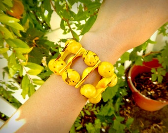 Chunky Yellow Double Layer/Stack Bracelet