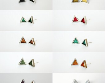 Triangle Stud Stained Glass Earrings