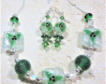 "Sterling Silver Necklace and Earring Set - ""Jolly Holly Days"" -   Artisan Lampwork Glass, Swarovski Crystal, Unique, One of a Kind, SRAJD"