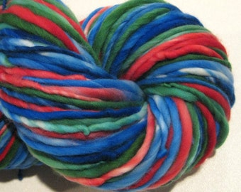 Super Bulky Handspun Yarn Iznik 128 yards hand dyed merino wool red blue green yarn waldorf doll hair knitting supplies crochet supplies