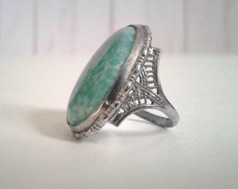 Amazonite and Silver Filigree Ring