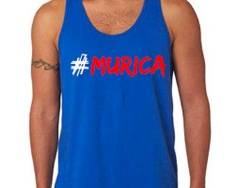 Men's 4th of July #Murica Royal Blue Tank Top. 4th of July Shirt. Independence Day. Men's Fourth of July Tank. Patriotic Tank. Merica Tank.
