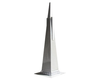 San Francisco Pyramid || craft kit for making scale model with silver foiled windows || two sizes