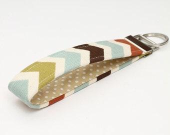 Fabric Key fob, fabric keychain wristlet, keyring, key lanyard - blue, rust, citrine, natural chevron with beige and white polka dot
