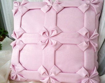 Smock Cushion Cover Light Pink Pillow, Flowers Pillow, Pink Pillow, Pink Cushion, Light Pink Cushion Cover,  Light Pink Pillow