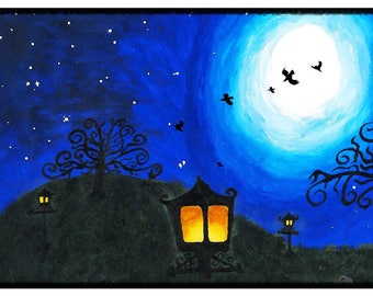 Lanterns - Print of painting created by Emma Blackwood