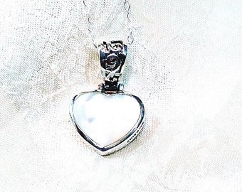 Reversible Heart Necklace in Mother of Pearl, Sterling Silver Handmade Jewelry by NorthCoastCottage Jewelry Design & Vintage Treasures