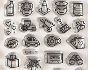planner stamps, planner icon stamps, for planners, bullet journal stamps, starving artistamps, erin condren, police, fireman, project life