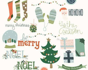 Christmas Digital Clip Art - 17 Hand Drawn Illustrations- Commercial Use - .png files - instant download
