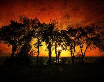 Sunset Art, Silhouette, Home Decor, Beach Decor, Landscape Decor, Large Wall Art Print, Summer's View