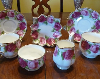 Royal Albert Old English Rose China Tea Cup, Saucer, Plate, Creamer, Sugar - 2 Teacups 2 Saucers 1 Square Plate 1 Creamer 1 Open Sugar