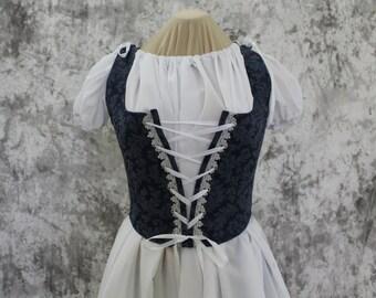 Navy Blue Renaissance Costume-Halloween Costume-Medieval Dress-LARP-Ren Fair-Steampunk-SCA-Adult Costume-Medieval Clothing-Fantasy-Item #242