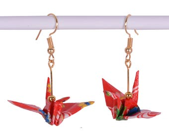 Origami Crane Earrings - Japanese Origami Earrings (Pair) for Good Luck, Handmade with Hook
