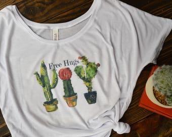gifts for her/Cactus shirt/free hugs tee/cactus tee/ free hugs shirt/free hugs cactus tee/southwest tee/boho/succulent shirt/succulent tee
