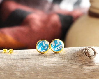 Stud earrings hieroglyphics, blue, gold base 10 mm, inspiration ancient egypt, Women