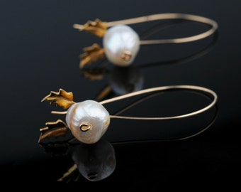 Pearl Earrings, Extra Long Dangle,Stylized Leaves, Gold Filled Wire, Festive, Bridal, Wedding, Minimalist