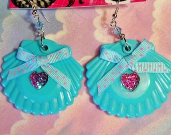 Shell earrings, seashell drop earrings mermaid jewelry blue dangle seapunk vaporwave aesthetic drag queen jewelry