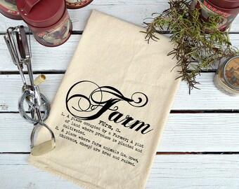 Flour Sack Towel, Flour Sack Dish Towel, Flour Sack Kitchen Towels, Tea Towels, Farmhouse Decor, Dish Towels, Housewarming Gift, Farm Script