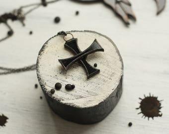Black cross necklace, cross jewelry, witch jewelry, gothic necklace, pagan necklace, dark necklace, wiccan necklace, wicca necklace