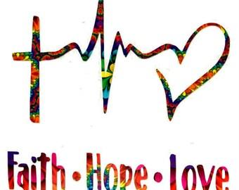 Faith Hope Love Vinyl Decal Sticker Die Cut Custom Car Window Laptop Tumbler Water Bottle Bumper - You Choose Size and Color
