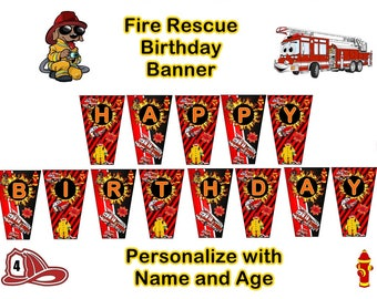 Fire Rescue Truck Birthday Party Banner,Instant Download