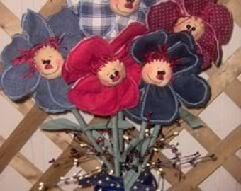 Primitive Raggedy Flower pattern
