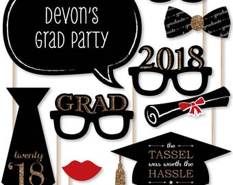 2018 Graduation Photo Booth Props - Gold Photobooth Kit with Custom Talk Bubble for Graduation Parties - Graduation Party 20 Piece Set
