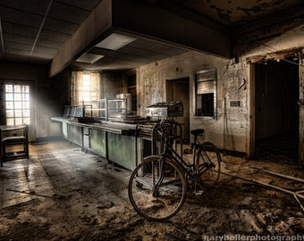 This would be the End - Abandoned Psychiatric Facility - Cafeteria, Urban Exploration, Bicycle left behind in an old building, Signed Print