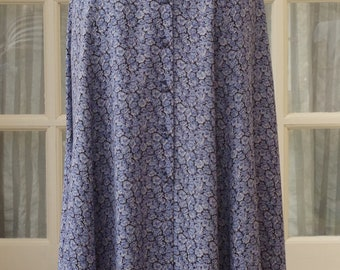 Laura Ashley Skirt 1990s Blue Floral Size UK12/14 EU40 US8/10