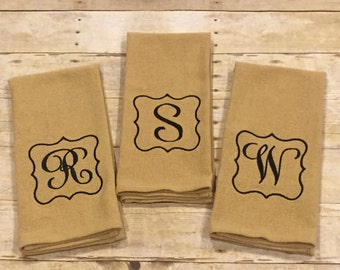 Monogrammed Washable Burlap Kitchen Towels/Great Hostess Gift/House Warming Gift/Teacher Gift