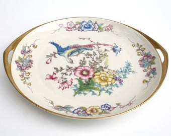 Rosenthal Bavaria Ivory Phoenix Cake Plate, German Two-handled Gilt Trimmed Serving Plate, 1925-1941, US Patent 72649, Made for S&G Gump Co.