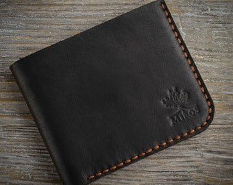 Personalized wallet black wallet with brown stitch leather wallet men wallet coins wallet gift for him engraved small wallet card holder
