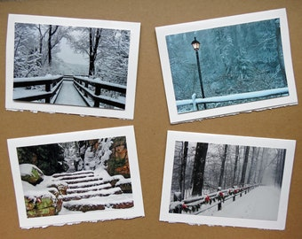 Winter Collection - Set of 4 - Blank Photo Note Seasonal Greeting Cards