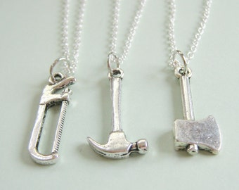 3 Best Friends Construction Necklaces BFF  You Choose The Charms