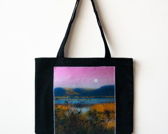 Mystical Moon tote Black Canvas Organic cotton grocery bag