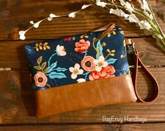 Grab N Go Wristlet Clutch - Les Fleurs / Floral Navy with Vegan Leather
