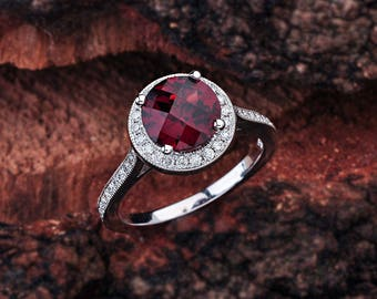 Garnet Engagement Ring 14K White Gold / Garnet Halo Engagement Ring / Garnet Center Stone