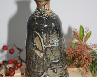 Shino Black and Orange Ceramic Vase, Carved Clay Bottle, Modern Home Decor, Unique Bud Vessel