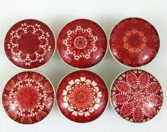 Set of 6 Red Mandala Cabinet Knobs