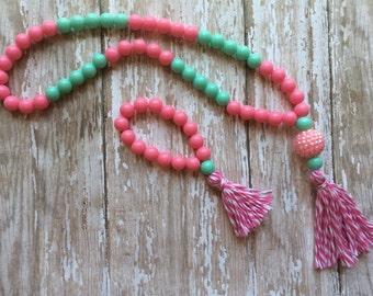 Super trendy Kids tassel necklace and bracelet set.. Tassel necklace.. Kids jewelry.. Tassel jewelry