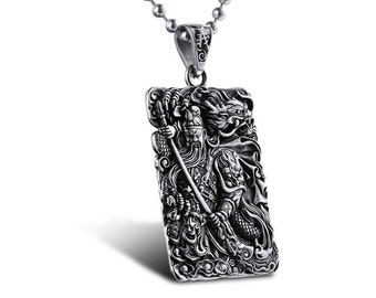 IN STOCK stunning medal necklace Chinese stainless steel + ball chain