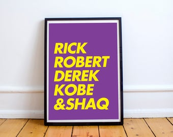 LAKERS (Away) - Digital Print, Gift For Him, Sports Fan Gift , NBA fan, Instant Download, Home Decor, Game room Decor, Christmas Gift, Kobe