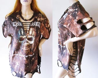 Iron Maiden Deep v bleached distressed shirts dress or top Large