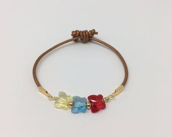 Leather Bracelet / Venezuela / Venezuela Jewelry / Swarovski Crystals / Venezuela bracelet
