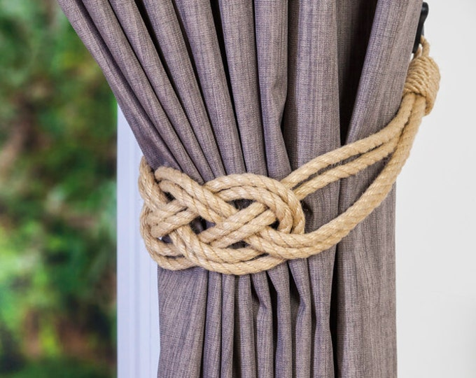 Hemp Rope Beige Rope Carrick Bend Knot Curtain Tie-backs Large Knot Nautical Style Shabby Chic Rope Curtain Gray Tiebacks Hold-backs