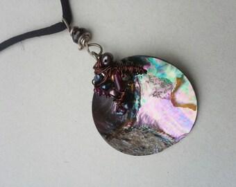 Mutter der Perle Halskette Stein Halskette lange Halskette Wirewrapped Perlen schwarz Schnur Halskette böhmischen Halskette Boho Halskette Geschenk für Mädchen
