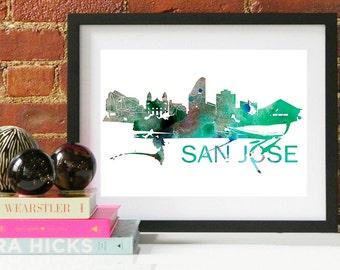 San Jose Watercolor Skyline, San Jose Skyline, San Jose Art, San Jose Poster, San Jose Print, San Jose Art, San Jose Map, San Jose Wall Art