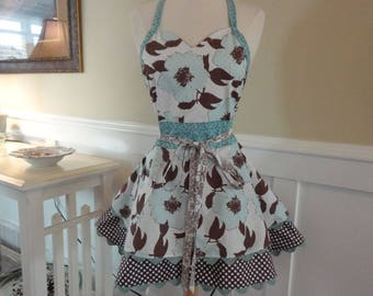 Island Girl ~Aqua and Chocolate Brown LAST ONE - Sadie Style Women's Apron ~ 4RetroSisters